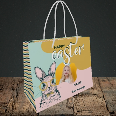 Picture of Bunny With Glasses, Easter Design, Small Landscape Gift Bag