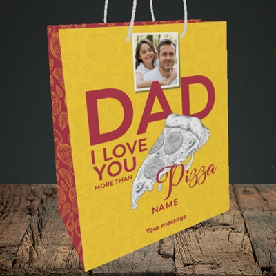 Picture of Love You More Than Pizza, Father's Day Design, Medium Portrait Gift Bag
