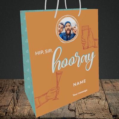 Picture of Hip, Sip, Hooray, Celebration Design, Medium Portrait Gift Bag