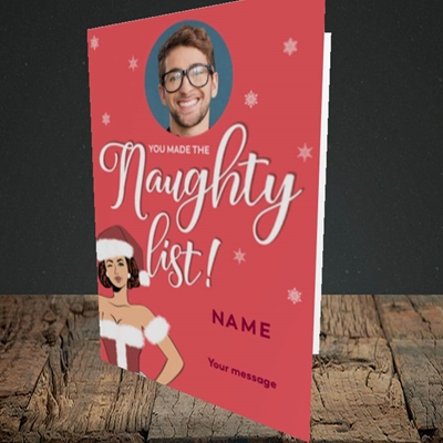 Picture of Naughty List, Christmas Design, Portrait Greetings Card