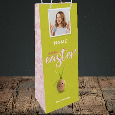 Picture of Bow Bunny Egg, Easter Design, Bottle Bag