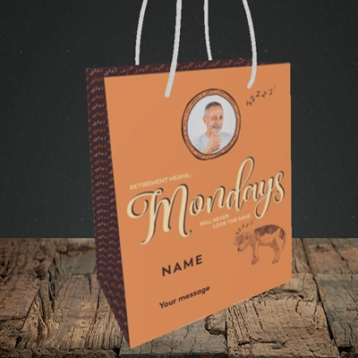 Picture of Mondays, Retirement Design, Small Portrait Gift Bag