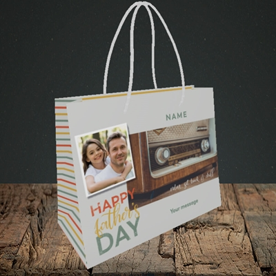 Picture of Retro Radio, Father's Day Design, Small Landscape Gift Bag