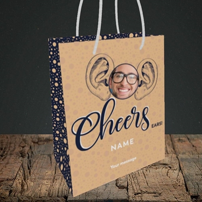 Picture of Cheers Ears, Thank You Design, Small Portrait Gift Bag