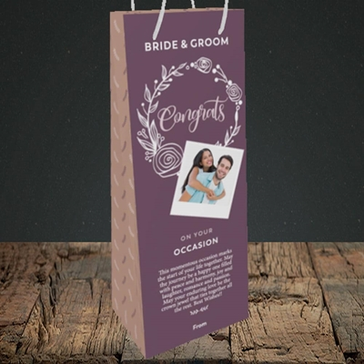 Picture of Wreath Purple B&G, Wedding Design, Bottle Bag