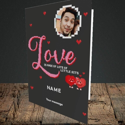 Picture of Love Bits, Valentine's Design, Portrait Greetings Card