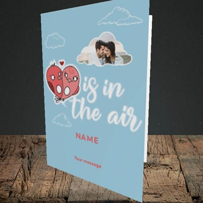 Picture of Love Is In The Air, Valentine's Design, Portrait Greetings Card