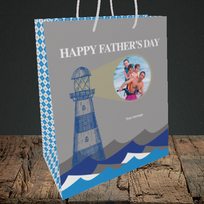 Picture of Lighthouse, Father's Day Design, Medium Portrait Gift Bag