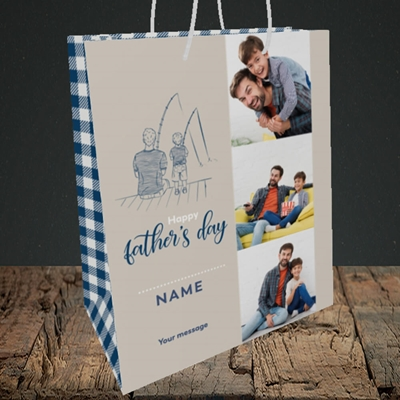 Picture of Father & Son, Father's Day Design, Medium Portrait Gift Bag