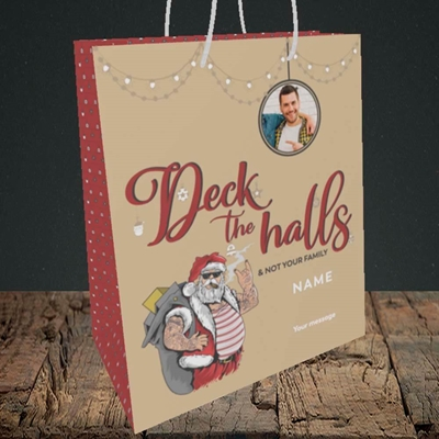 Picture of Deck The Halls, Christmas Design, Medium Portrait Gift Bag
