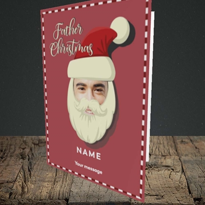 Picture of Father Christmas Mask, Christmas Design, Portrait Greetings Card