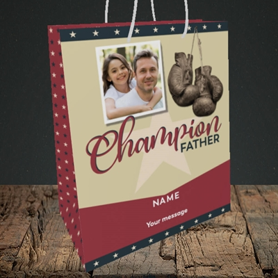 Picture of Champion Father, Father's Day Design, Medium Portrait Gift Bag