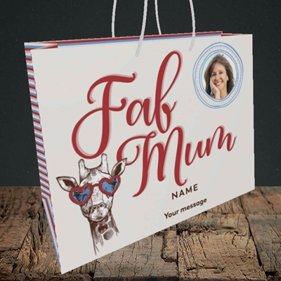 Picture of Fab Mum, Birthday Design, Medium Landscape Gift Bag