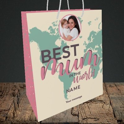 Picture of Best Mum In The World, Mother's Day Design, Medium Portrait Gift Bag