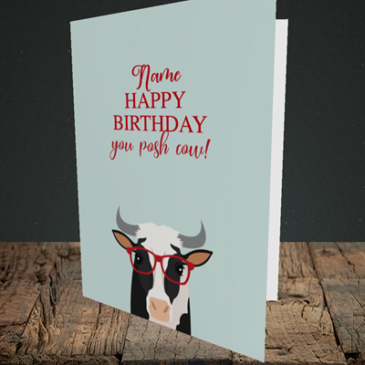 Picture of Cow, (Without Photo) Birthday Design, Portrait Greetings Card