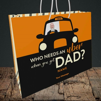 Picture of Uber Dad, Father's Day Design, Medium Landscape Gift Bag
