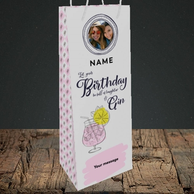 Picture of Birthday Full Of Gin, Birthday Design, Bottle Bag