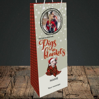 Picture of Pigs In Blankets, Christmas Design, Bottle Bag