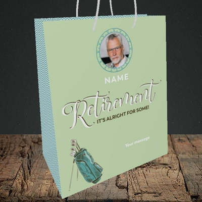 Picture of Retirement Golf, Leaving Design, Medium Portrait Gift Bag