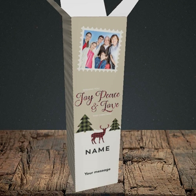 Picture of Joy Peace & Love, Christmas Design, Upright Bottle Box