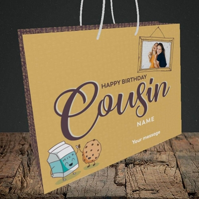 Picture of Cousin(M&C), Birthday Design, Medium Landscape Gift Bag