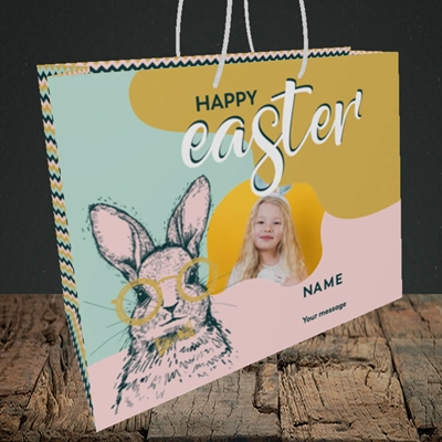 Picture of Bunny With Glasses, Easter Design, Medium Landscape Gift Bag