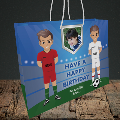 Picture of Football, Birthday Design, Medium Landscape Gift Bag