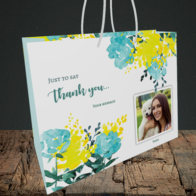 Picture of Watercolour, Thank You Design, Medium Landscape Gift Bag