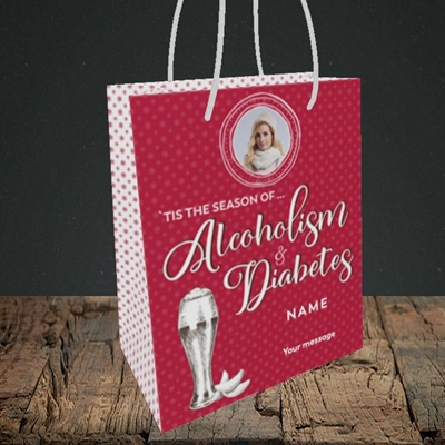 Picture of Alcoholism & Diabetes, Christmas Design, Small Portrait Gift Bag