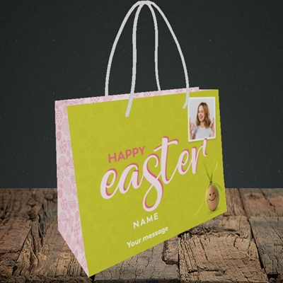 Picture of Bow Bunny Egg, Easter Design, Small Landscape Gift Bag