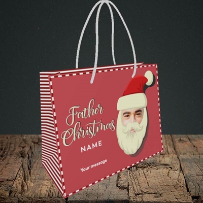 Picture of Father Christmas Mask, Christmas Design, Small Landscape Gift Bag