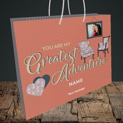 Picture of Greatest Adventure, Valentine's Design, Medium Landscape Gift Bag