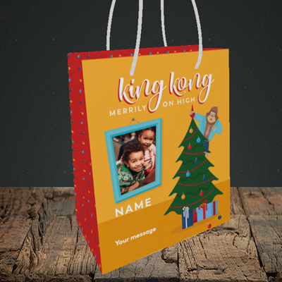 Picture of King Kong, Christmas Design, Small Portrait Gift Bag