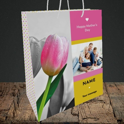 Picture of Mother's Day Tulips, Mother's Day Design, Medium Portrait Gift Bag