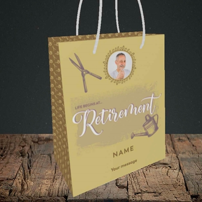 Picture of Life Begins (Garden), Retirement Design, Small Portrait Gift Bag