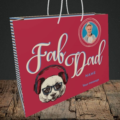 Picture of Fab Dad, Birthday Design, Medium Landscape Gift Bag