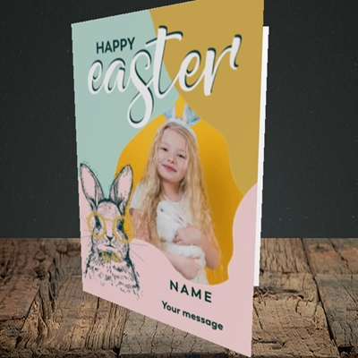 Picture of Bunny With Glasses, Easter Design, Portrait Greetings Card
