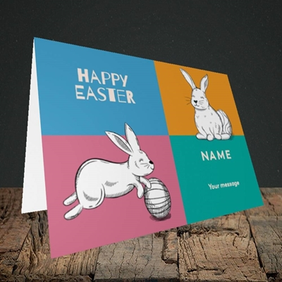 Picture of 4 Colour Bunnies(Without Photo), Easter Design, Landscape Greetings Card