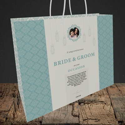 Picture of Moroccan Influences Teal B&G, Wedding Design, Medium Landscape Gift Bag