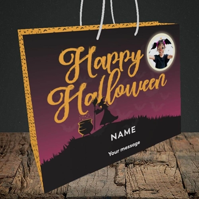 Picture of Witch On The Hill, Halloween Design, Medium Landscape Gift Bag