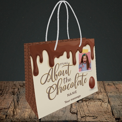 Picture of All About The Chocolate, Easter Design, Small Landscape Gift Bag