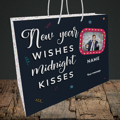Picture of Midnight Kisses, New Year Design, Medium Landscape Gift Bag
