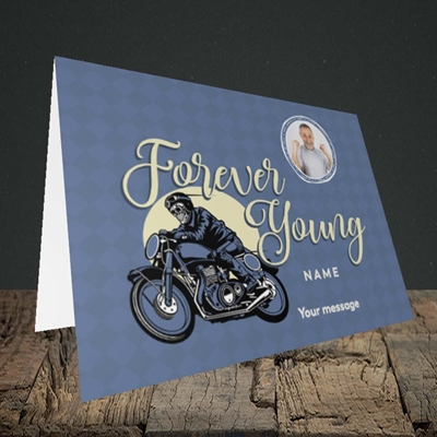 Picture of Forever Young (Motorbike), Birthday Design, Landscape Greetings Card