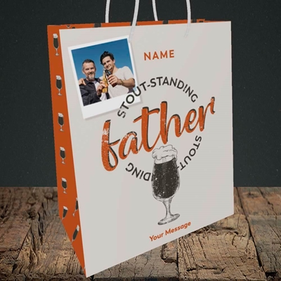 Picture of Stout-standing Father, Father's Day Design, Medium Portrait Gift Bag
