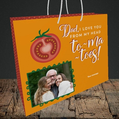 Picture of Tomatoes, Father's Day Design, Medium Landscape Gift Bag
