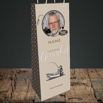 Picture of Grandad Fishing, Birthday Design, Bottle Bag
