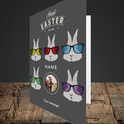 Picture of Hipster Bunnies, Easter Design, Portrait Greetings Card