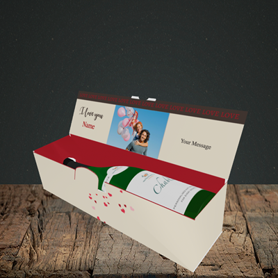 Picture of Lovebirds, Valentine's Design, Lay-down Bottle Box
