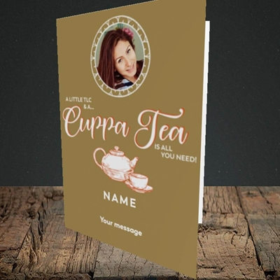 Picture of Cuppa Tea, Get Well Soon Design, Portrait Greetings Card