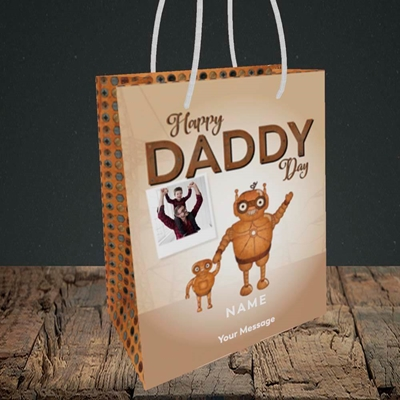 Picture of Daddy Robot, Father's Day Design, Small Portrait Gift Bag